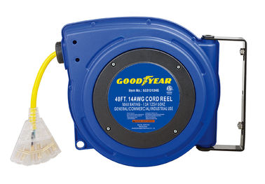 China 125 Volt 13 Amp 3 Core Compact Goodyear Hose Reel With Reset Button distributor